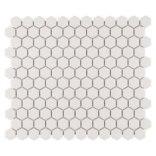 SomerTile 10.25x12-inch Manhattan Hex Antique White Unglazed Porcelain Mosaic Floor and Wall Tile (P