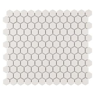 Somertile 10 25x12 Inch Manhattan Hex Antique White Unglazed Porcelain Mosaic Floor And Wall Tile