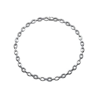 Collette Z Sterling Silver Cubic Zirconia Oval Link Necklace