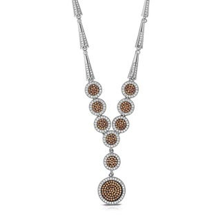 Collette Z Sterling Silver Iridescent Cubic Zirconia Round Drop Necklace