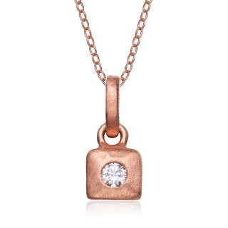 Collette Z Matte Rose Gold Sterling Silver Cubic Zirconia Square Necklace