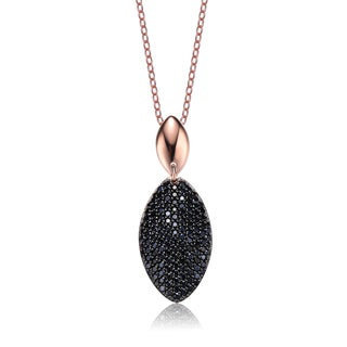 Collette Z Rose and Black-plated Silver Cubic Zirconia Oval Necklace