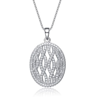 Collette Z Sterling Silver Cubic Zirconia Oval Lace Necklace