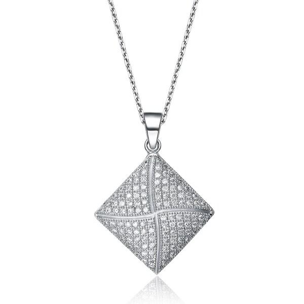 b6b4759228302 Shop Collette Z Sterling Silver Cubic Zirconia Diamond-shaped ...