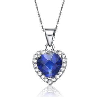 Collette Z Sterling Silver Heart-cut Blue Cubic Zirconia Necklace