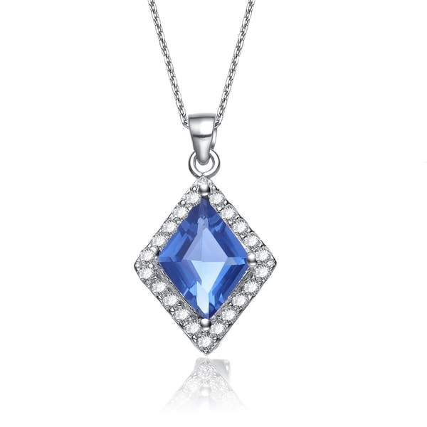 Collette z sterling silver blue cubic zirconia diamond shaped collette z sterling silver blue cubic zirconia diamond shaped necklace aloadofball Image collections