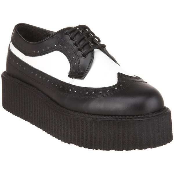 Demonia Unisex 'Creeper-408' Black/ White Wingtip Lace-up Shoes