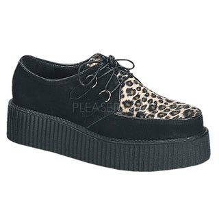Demonia Unisex 'Creeper-400' Black/ Cheetah Lace-up Oxford Shoes