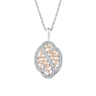 Two-tone Sterling Silver 1/4ct TDW Diamond Filigree Necklace By Ever One