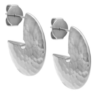 Calvin Klein Stainless Steel Hammered Disc Semi-hoop Earrings