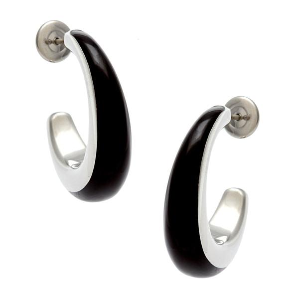 Calvin Klein Stainless Steel Glossy Black Resin Semi-hoop Earrings