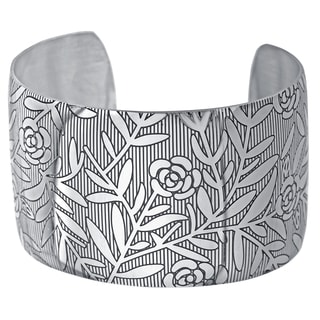 Stainless Steel Black Ion-plated Floral Design 40-mm Cuff Bracelet
