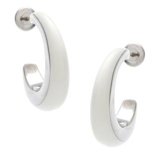 Calvin Klein Stainless Steel Resin Semi-hoop Earrings