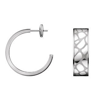 Calvin Klein Stainless Steel Wide Flag Semi-hoop Earrings