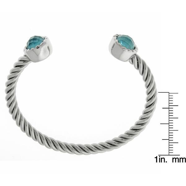 Stainless Steel Blue Gl Finial Twisted Cuff Bracelet