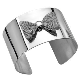 Stainless Steel Bow Accent 40-mm Polished Cuff Bracelet