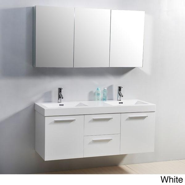 Shop virtu usa midori 54 inch double sink vanity set free shipping today 8301247 for 54 inch double sink bathroom vanity