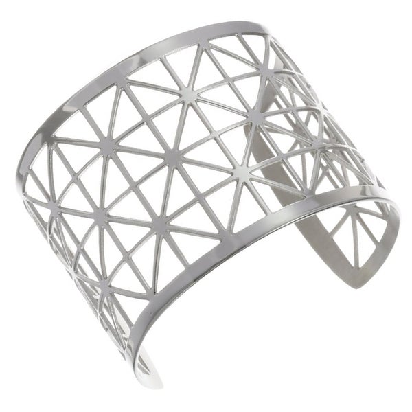 Stainless Steel Geometric Openwork 49-mm Cuff Bracelet