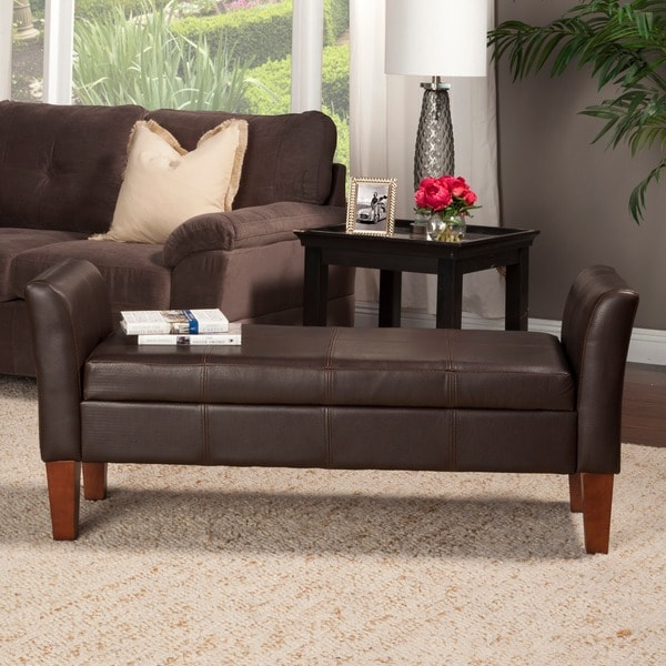 Porch & Den Wabasha Leather Storage Bench with Arms