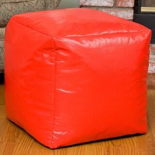 Christopher Knight Home Parker Vinyl Beanbag Cube Ottoman Pouf