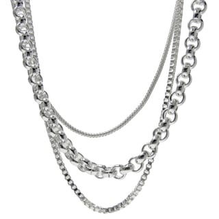Silver Ionplated Stainless Steel Triple Layer Chain Necklace