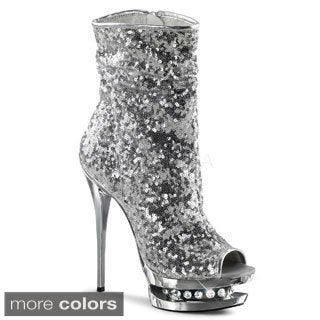 Pleaser 'BLONDIE-R-1008' Women's Sequin Open-toe Ankle Boots