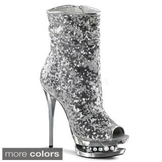 Pleaser 'BLONDIE-R-1008' Women's Sequin Open-toe Ankle Boots (5 options available)