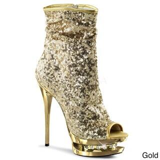Pleaser 'BLONDIE-R-1008' Women's Sequin Open-toe Ankle Boots