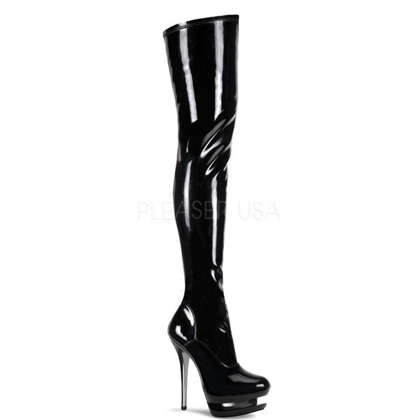 Pleaser 'BLONDIE-3000' Women's Stiletto Heel Dual Platform Thigh-high Boots