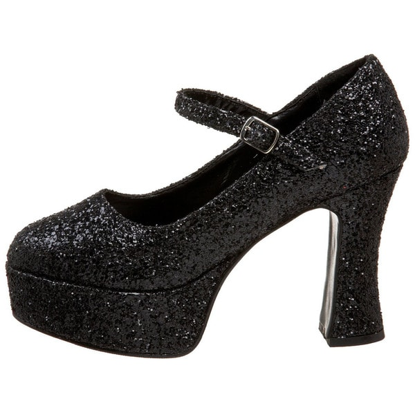 MARYJANE 50G, Chunky Heel Mary Jane Glitter Platform Pump in Black Glitter