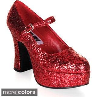 Funtasma Women's 'Maryjane-50G' Glitter Vamp Chunky Pumps