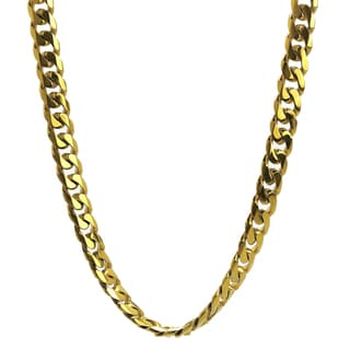 Gold Ion-plated Stainless Steel 10-mm Curb Chain Jewelry Set