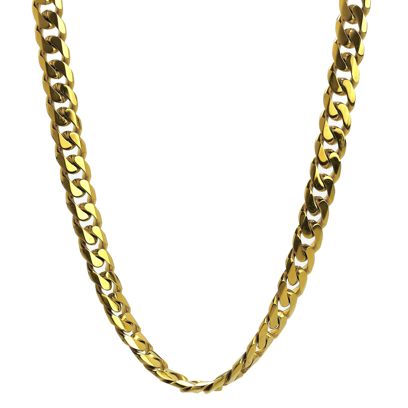 Shop Gold Ion Plated Stainless Steel 10 Mm Curb Chain Jewelry Set On Sale Overstock 8301364