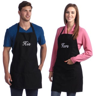 Kaufman Monogrammed Black His and  Hers Apron Set
