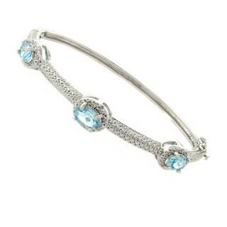 Pretty Plus Silver Overlay Blue Topaz and Diamond Accent Bangle