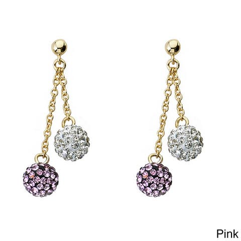 Molly Glitz 14k Goldplated Children's Crystal Ball Dangle Earrings