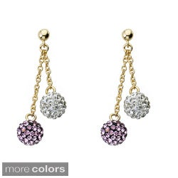 Molly Glitz 14k Goldplated Children's Crystal Ball Dangle Earrings (2 options available)