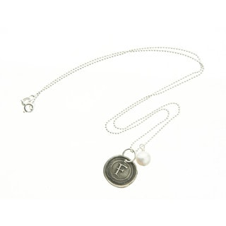 Fine Silver Wax Seal Monogram Pendant Necklace