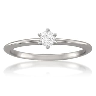 Montebello 14k White Gold 1/5ct TDW Certified Diamond Solitaire Ring