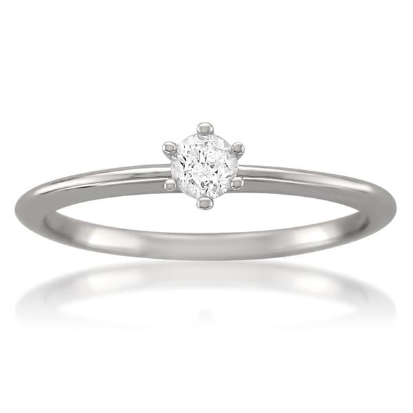Montebello 14k White Gold 1/5ct TDW Certified Diamond Solitaire Ring