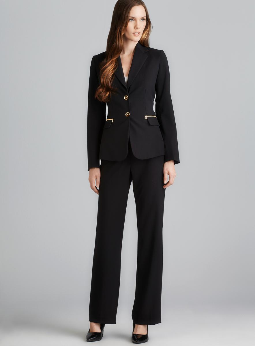 Tahari Pocket Zip Two Button Pant Suit
