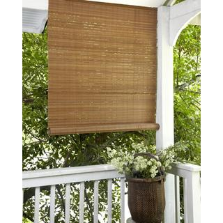 Lewis Hyman Fruitwood Brown Outdoor Roll Up Patio Shade
