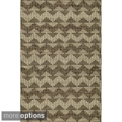 Sorrel Chevron Grey Reversible Indoor Hand Woven Wool Rug (8' x 10')
