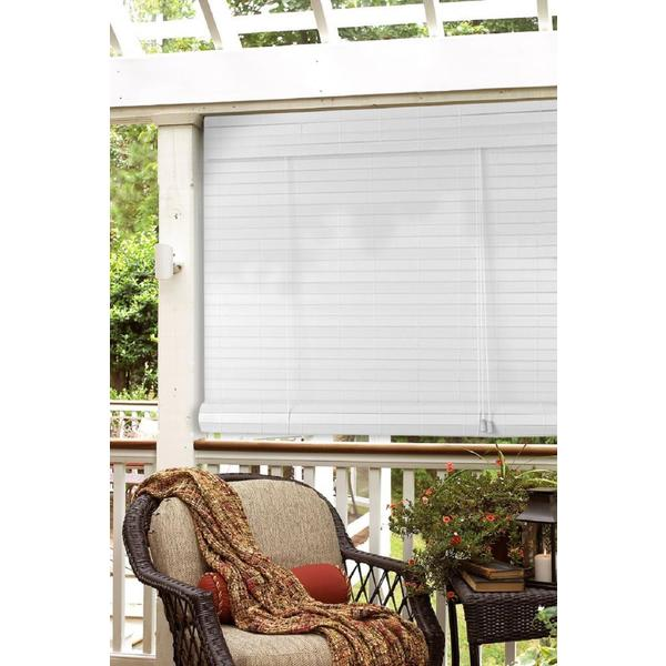 Lewis Hyman White Faux Bamboo Outdoor Roll Up Patio Shade