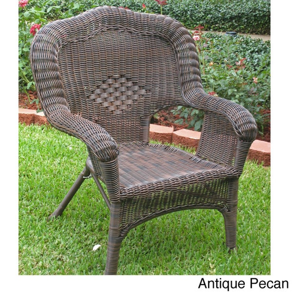 International Caravan Chelsea Resin Wicker/ Steel Patio Dining Chairs (Set  of 2) - International Caravan Chelsea Resin Wicker/ Steel Patio Dining