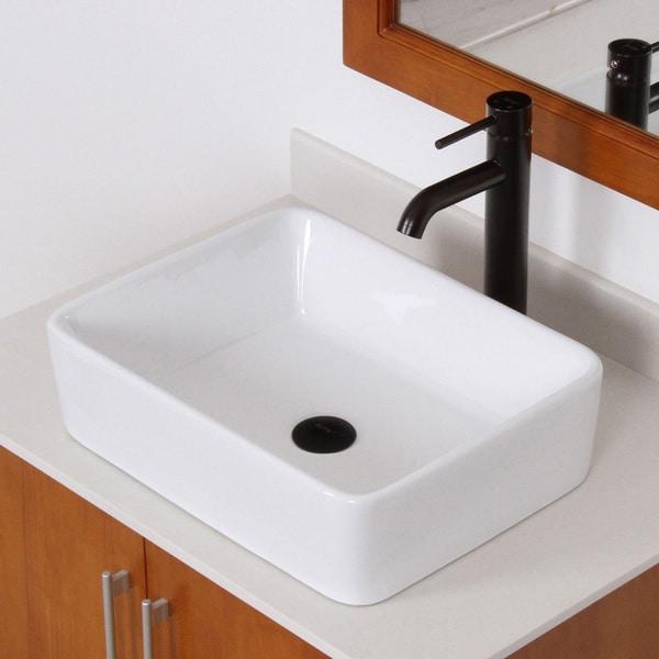 Elite High Temperature Rectangular Ceramic Bathroom Sink And Faucet Combo