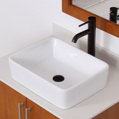 Elite High-temperature Rectangular Ceramic Bathroom Sink and Faucet Combo