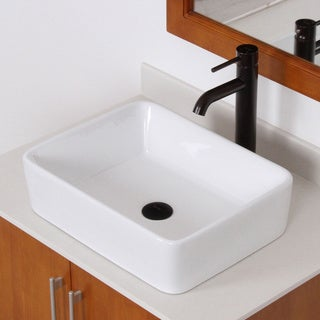 Elite High-temperature Rectangular Ceramic Bathroom Sink and Faucet Combo