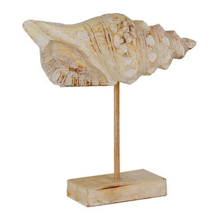 Wood Conch Shell and Stand