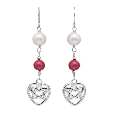 Pearlyta Sterling Silver Freshwater Pearl and Garnet Dangle Heart Earrings (7-8 mm) - White